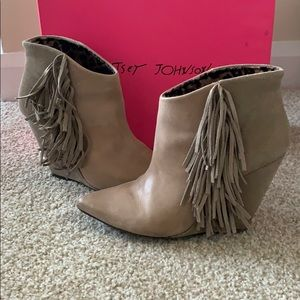 Betsey Johnson leather and suede booties